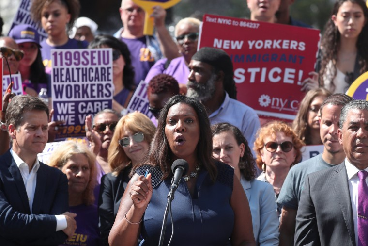 Image: New York State Attorney General Letitia James makes an announcement regarding U.S. President Trump's public charge rule during a news conference in New York
