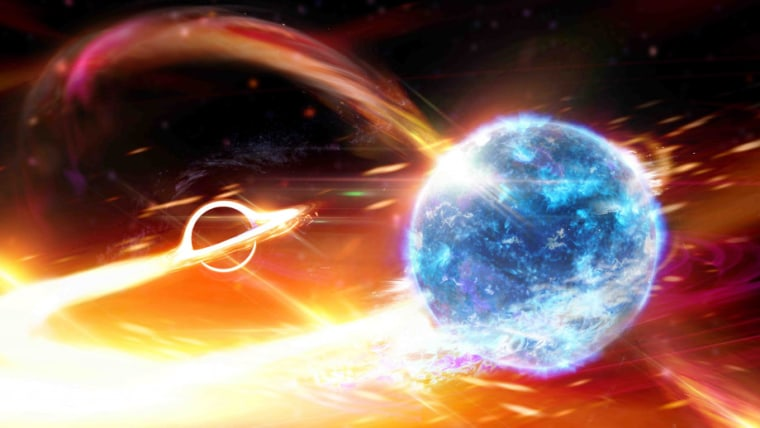 An artist's depiction of a black hole swallowing a neutron star.