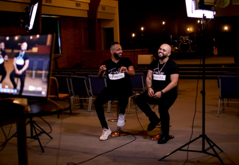 Image: Angel Colon and Luis Javier Ruiz are among the survivors of the 2016 mass shooting at gay nightclub Pulse, where 49 people were killed.