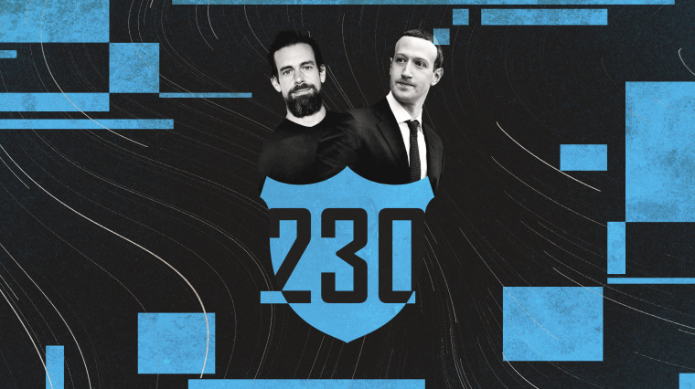 Illustration of Jack Dorsey and Mark Zuckerberg hiding behind a shield with 230 on the front.
