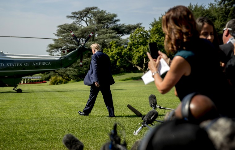 Image: President Donald Trump walks to board Marine One outside of the White House on July 12, 2019.