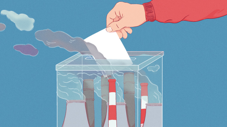Illustration of hand casting ballot in a ballot box with smoke stacks inside.