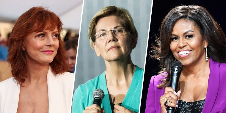 Image: Susan Sarandon, Elizabeth Warren and Michelle Obama.