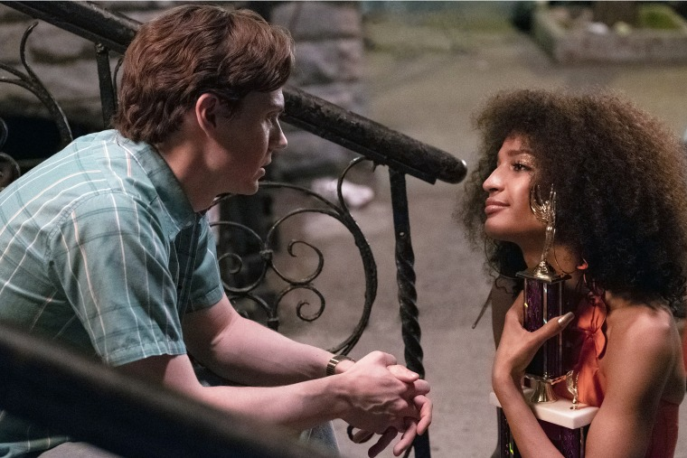 "Indya Moore as Angel and Evan Peters as Stan in ""Pose"" on FX."