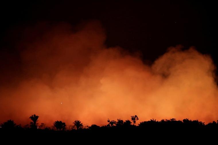 Image: Smoke billows during a fire in an area of the Amazon rainforest near Humaita, Amazonas