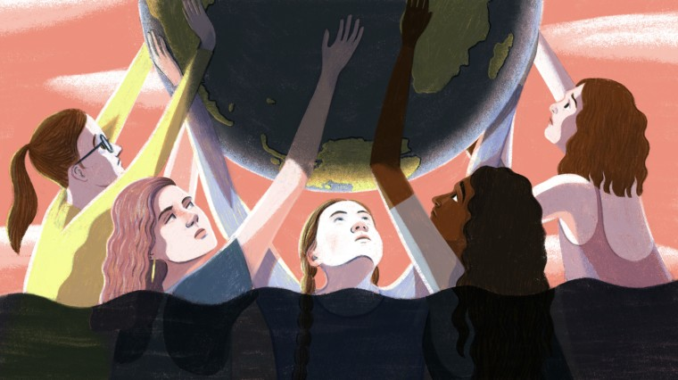 Illustration of young climate activists holding up the earth while waters rises around them.