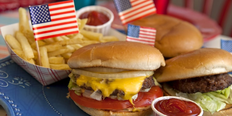 Cheese Burgers, Barbeque Hamburger, July Fourth & Labor Day Picnic Food