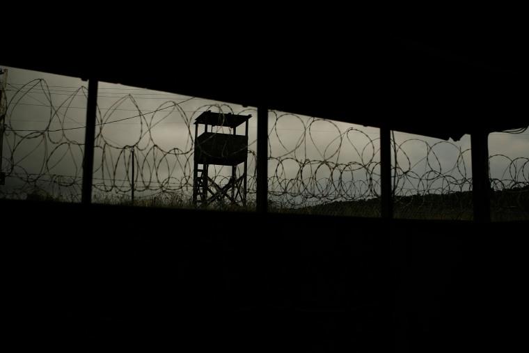 Image: A guard tower at Camp X-Ray at Guantanamo Bay in Cuba on Oct. 3, 2007.
