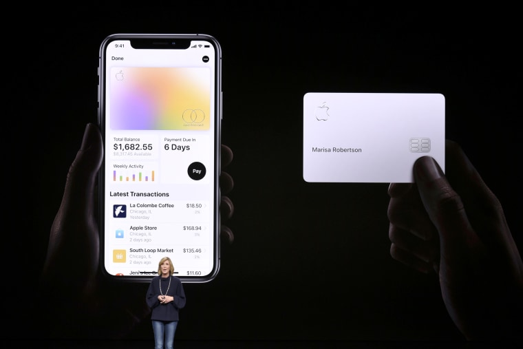 Image: Jennifer Bailey, vice president of Apple Pay, speaks during an Apple product launch event at the Steve Jobs Theater at Apple Park on March 25, 2019.