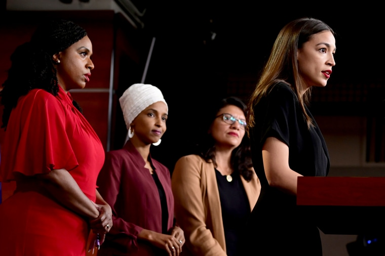 Image: Rep. Ayanna Pressley, Rep. Ilhan Omar, Rep. Rashida Tlaib, and Rep. Alexandria Ocasio-Cortez hold a news conference on Capitol Hill on July 15, 2019.