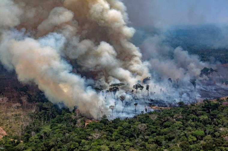 Image: Smoke billows from a fire burning in the Amazon basin near Candeias do Jamari, Brazil, on Aug. 24, 2019.