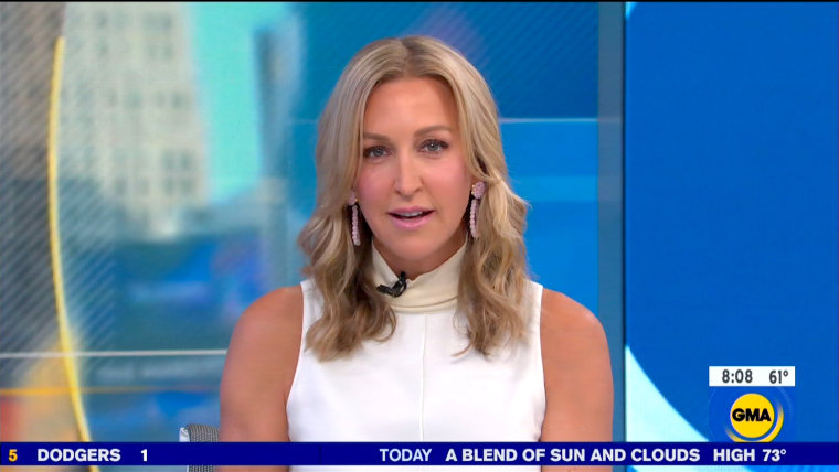 """Image: Lara Spencer apologizes for comments she made about Prince George on """"Good Morning America"""" on Aug. 26, 2019."""