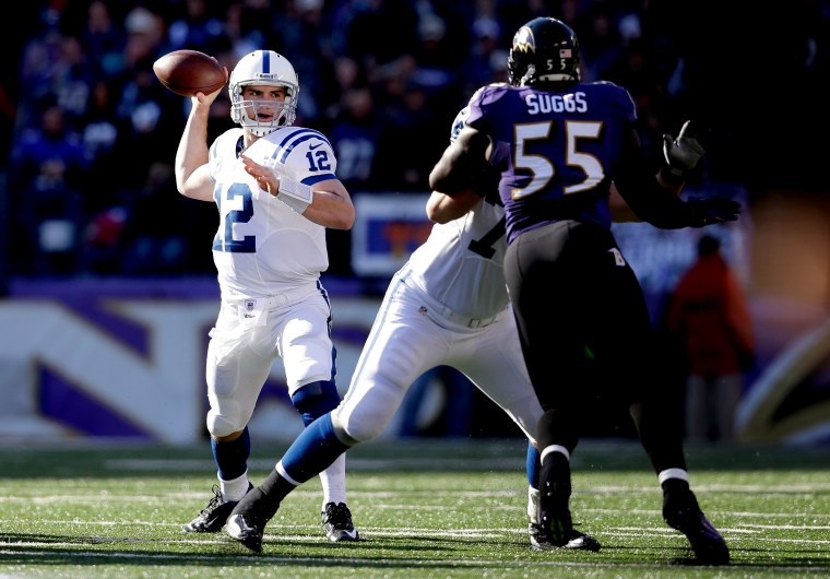Image: Indianapolis Colts quarterback Andrew Luck throws a pass against the Baltimore Ravens in 2013.