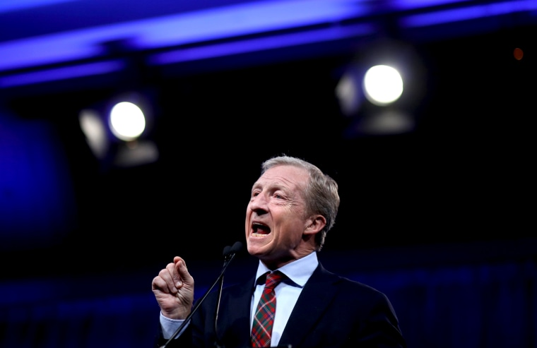 Image: Presidential candidate Tom Steyer speaks at a Democratic National Committee summer meeting in San Francisco on Aug. 23, 2019.