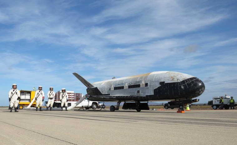 An X-37B Orbital Test Vehicle at NASA's Kennedy Space Center in Florida