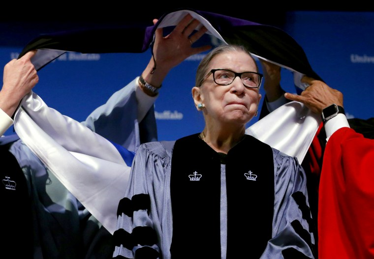 Image: Supreme Court Justice Ruth Bader Ginsburg is honored at the University of Buffalo in N.Y. on Aug. 26, 2019.