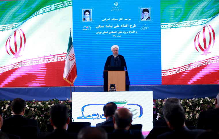 Image: Iranian President Hassan Rouhani speaks at a ceremony in Tehran on Aug. 27, 2019.