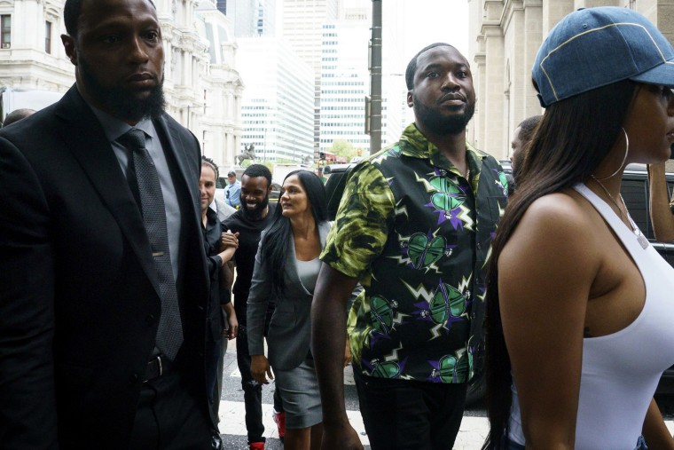 Image: Meek Mill arrives at the Criminal Justice Center in Philadelphia on Aug. 27, 2019.