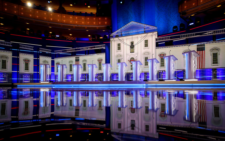Image: The stage before the first Democratic presidential primary debate hosted by NBC in Miami, Fla., on June 26, 2019.