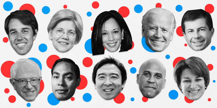 Image: The 10 candidates who have qualified are: Beto O'Rourke, Elizabeth Warren, Kamala Harris, Joe Biden, Pete Buttigieg, Bernie Sanders, Julian Castro, Andrew Yang, Cory Booker and Amy Klobuchar.