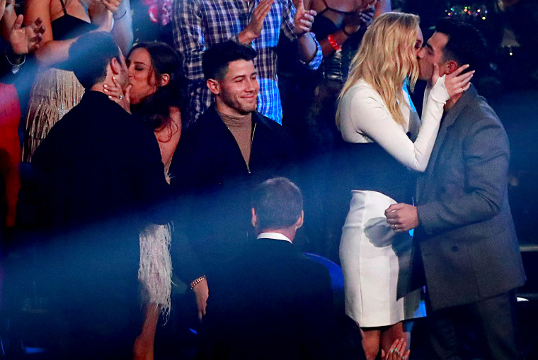Image: The Jonas Brothers celebrate winning Best Pop Award at the MTV Video Music Awards at the Prudential Center in Newark, N.J., on Aug. 26, 2019.