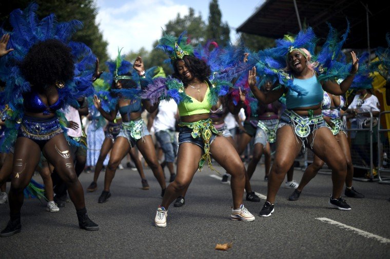 Image: Performers practice before the start of the Notting Hill Carnival in London, England, on Aug. 25, 2019.