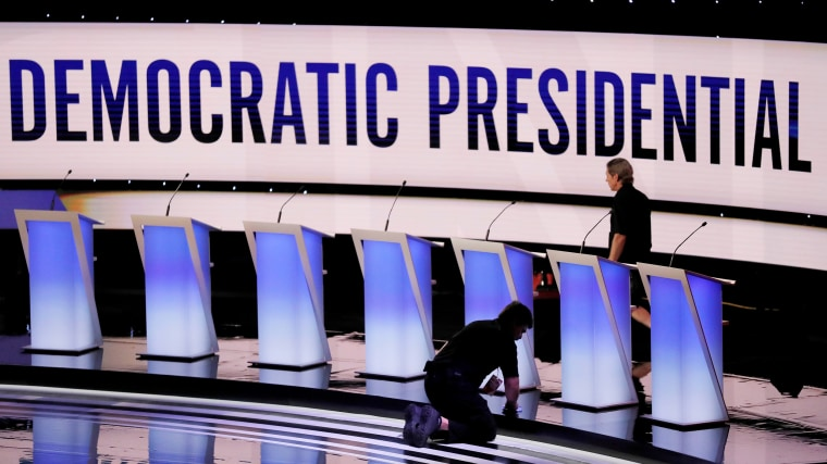 Image: Crews prepare the stage for the second Democratic 2020 U.S. presidential candidates debate in Detroit