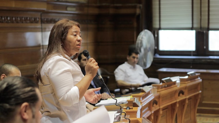 Carmen Castillo speaks at a Providence RI City Council meeting.