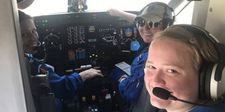 The NOAA prepares for a Hurricane Dorian reconnaissance mission with the first all female three-pilot flight crew, featuring Capt. Kristie Twining, Cmdr. Rebecca Waddington, and Lt. Lindsey Norman.