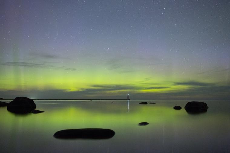 The Aurora Borealis is seen in the sky in Leningrad Region