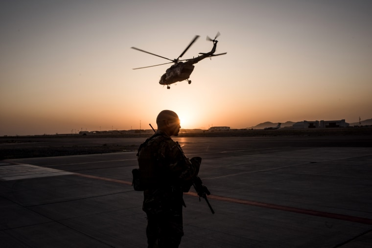 Image: A member of the United States Air Force on the runway at Kandahar Air Field in Afghanistan on Sept. 9, 2017.