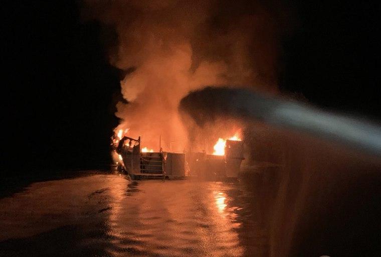 Image: Ventura County Fire Department respond to a boat fire off the coast Santa Cruz Island, California