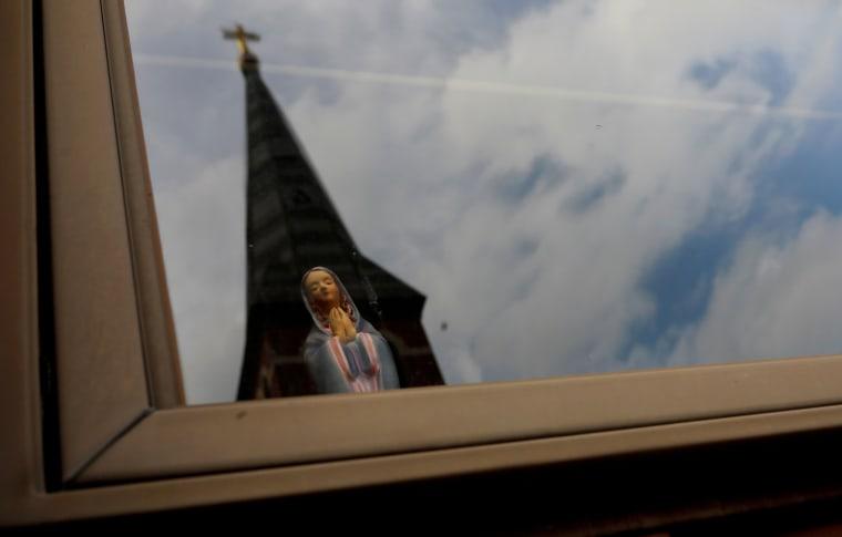 A statuette of the Virgin Mary in Ashland, Pennsylvania