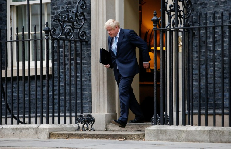 Image: Boris Johnson arrives to deliver a speech outside Downing Street in London