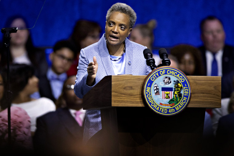 Image: Mayor Lori Lightfoot speaks at her inauguration ceremony in Chicago on May 20, 2019.