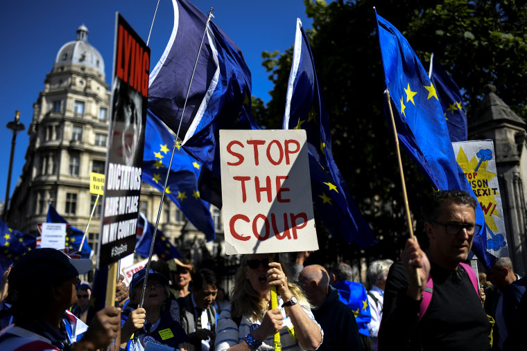 Image: Anti-Brexit demonstrators protest outside of Parliament in London on Sept. 4, 2019.