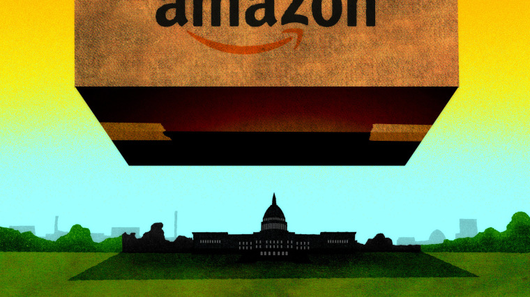Illustration of a huge Amazon box hovering over Washington D.C.