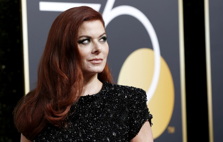 Image: Debra Messing arrives to the 75th Golden Globe Awards in Calif. on Jan. 7. 2018.