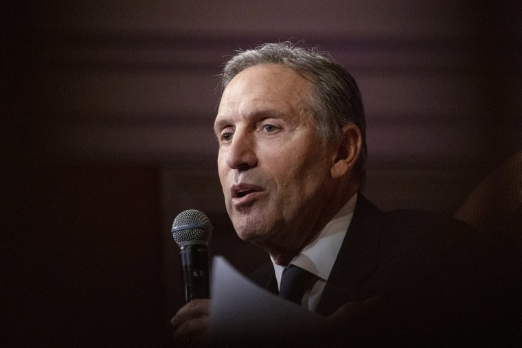 Image: Howard Schultz, chairman emeritus and former chief executive officer of Starbucks Corp., speaks during his 'From the Ground Up' book tour in Washington