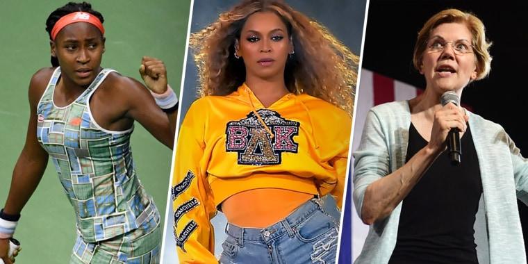 Coco Gauff, Beyonce and Elizabeth Warren
