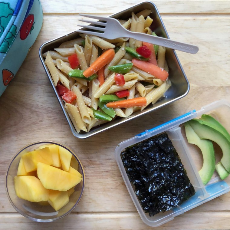 This rainbow veggie pasta is a perfect healthy lunchbox option for kids.
