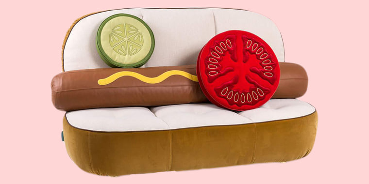 The hot dog couch retails for $7,100 at Neiman Marcus.