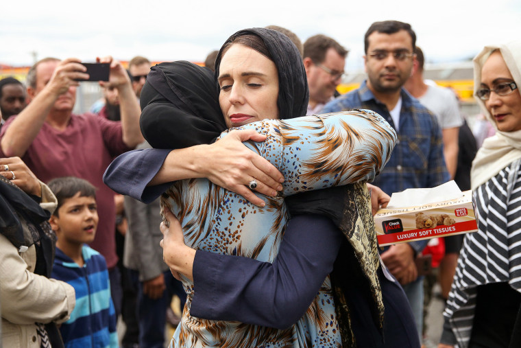 Image: Prime Minister Jacinda Ardern hugs a mourner at the Kilbirnie Mosque on March 17, 2019 in Wellington, New Zealand.