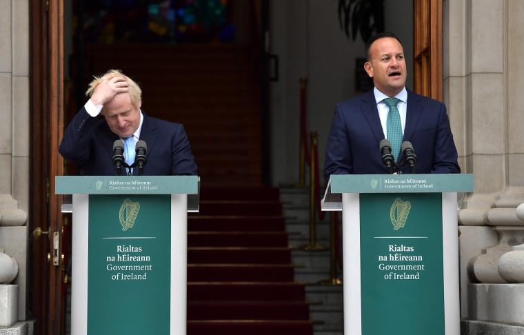 Image: Irish Taoiseach Leo Varadkar speaks to the media ahead of his meeting with British Prime Minister Boris Johnson at Government Buildings