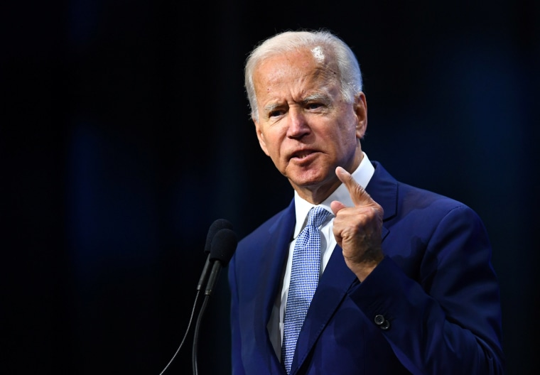 Image: Democratic 2020 presidential candidate and former Vice President Joe Biden addresses the crowd at the New Hampshire Democratic Party state convention in Manchester, New Hampshire