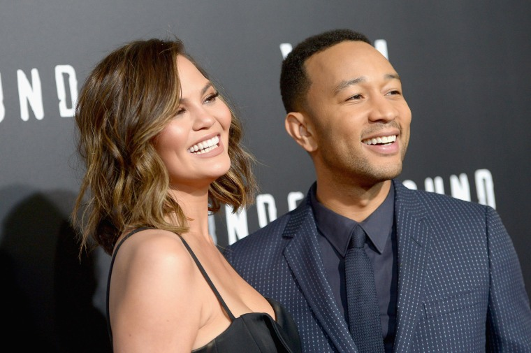 Image: Model Chrissy Teigen and actor/singer/executive producer John Legend in Westwood, California.