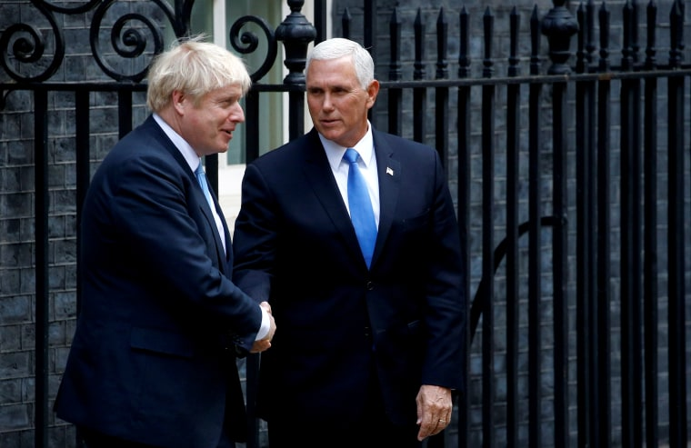 Image: Vice President Mike Pence meets with British Prime Minister Boris Johnson on Downing Street in London on Sept. 5, 2019.