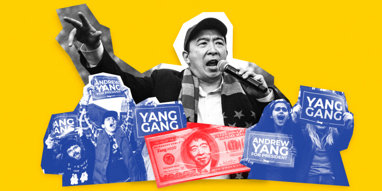 Image: Andrew Yang has seen a slow and steady tick upward in his polling and fundraising -- and the Yang Gang is with him all the way.