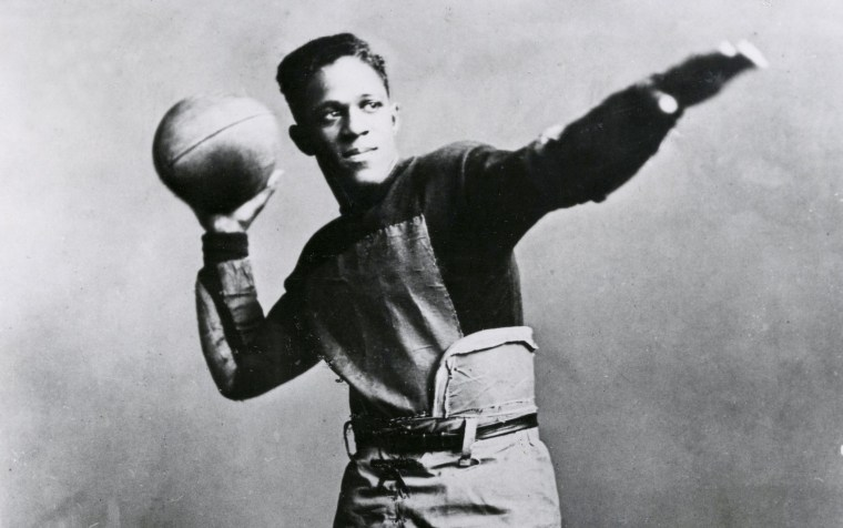 Image: Fritz Pollard, the Brown University halfback, in 1916.