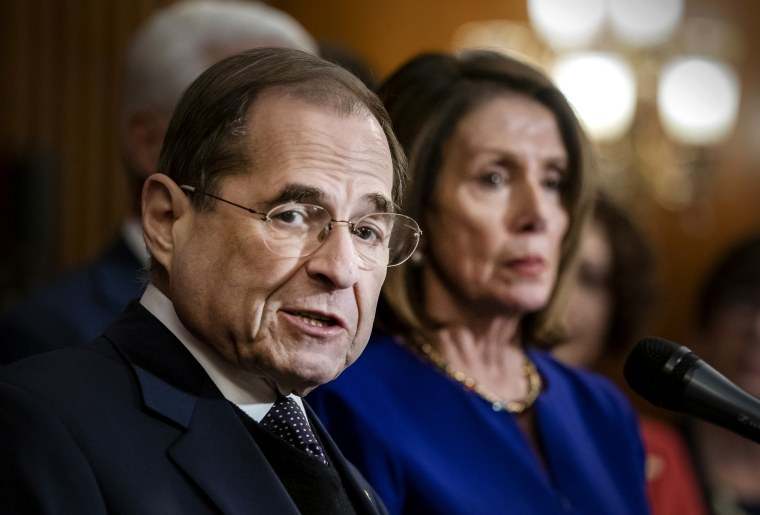 Image: House Judiciary Committee Chairman Jerry Nadler and Speaker of the House Nancy Pelosi speak at the Capitol on March 7, 2019.